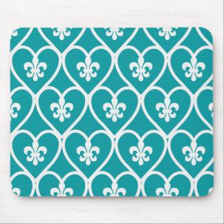 Turquoise Heart Fleur De Lis Mouse Pad