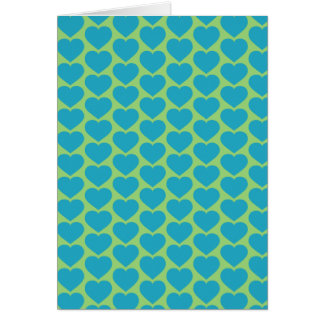 Turquoise hearts - Tiled Card