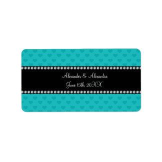 Turquoise hearts wedding favors address label