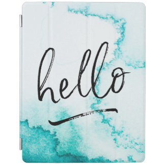 Turquoise Hello hand-lettered ipad cover