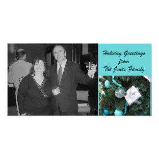 Turquoise Holidays Custom Photo Card