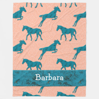 Turquoise Horse Pattern Personalized Fleece Blanket