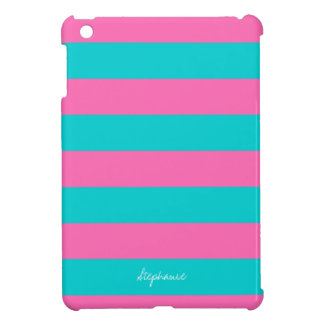 Turquoise & Hot Pink Stripe Pattern iPad Mini Case