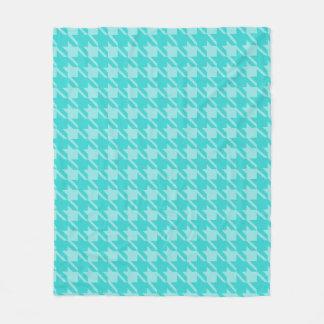 Turquoise Houndstooth Bed Fleece Blanket Gift