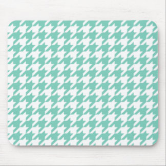 Turquoise Houndstooth Mouse Pad
