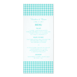 Turquoise Houndstooth Wedding Menu Announcement