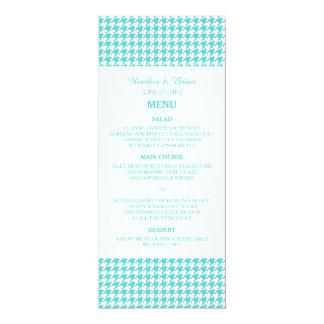 Turquoise Houndstooth Wedding Menu 10 Cm X 24 Cm Invitation Card