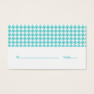 Turquoise Houndstooth Wedding Place Card