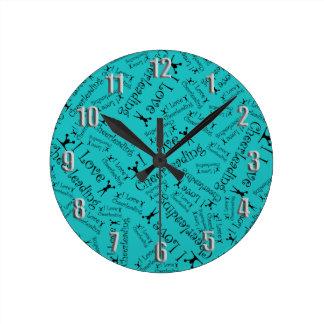 Turquoise I love cheerleading Wall Clock