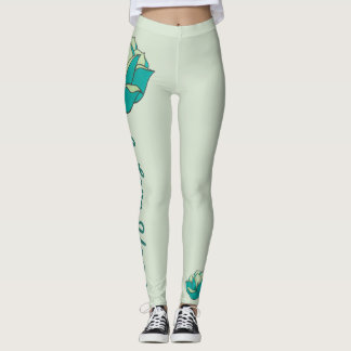 Turquoise I Love Yoga Leggings
