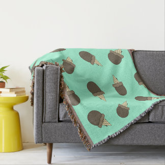 Turquoise Ice cream cones throw blanket