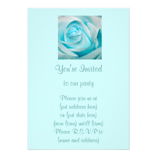 Turquoise Ice Rose Custom Announcements
