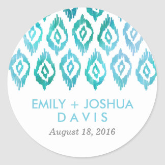 Turquoise Ikat Watercolor | Wedding Round Sticker