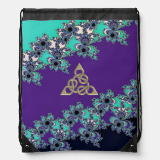 Turquoise Indigo Fractal Celtic Figure 8 Knot Backpacks