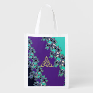 Turquoise Indigo Fractal Celtic Figure 8 Knot Grocery Bags