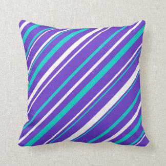 Turquoise & Indigo Stripe Reversable Throw Pillow