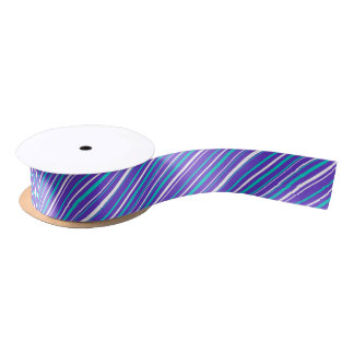 Turquoise & Indigo Stripe Ribbon Satin Ribbon