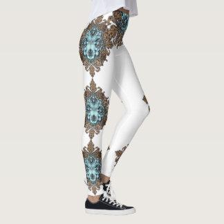 Turquoise jeweled leggings