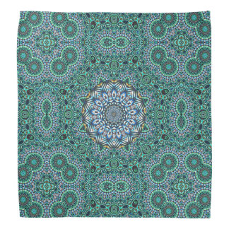 Turquoise Kaleidoscopic Mosaic Reflections Design Bandana