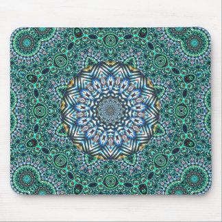 Turquoise Kaleidoscopic Mosaic Reflections Design Mousepads