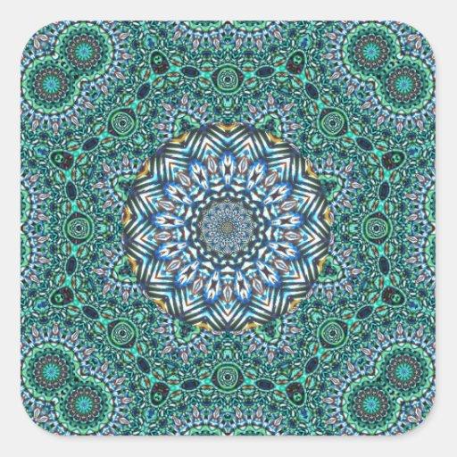 Turquoise Kaleidoscopic Mosaic Reflections Design Sticker