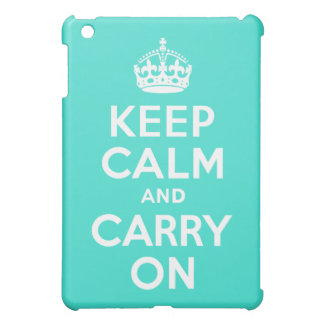 Turquoise Keep Calm and Carry On Case For The iPad Mini