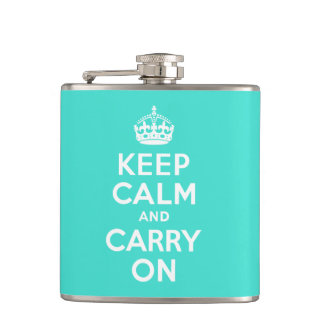 Turquoise Keep Calm and Carry On Hip Flask