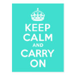 Turquoise Keep Calm and Carry On Post Card
