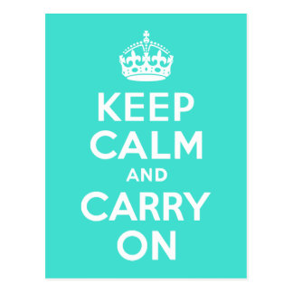 Turquoise Keep Calm and Carry On Postcard