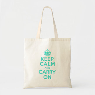 Turquoise Keep Calm and Carry On Canvas Bags