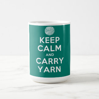 Turquoise Keep Calm and Carry Yarn Coffee Mug
