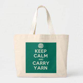 Turquoise Keep Calm and Carry Yarn Jumbo Tote Bag