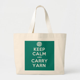 Turquoise Keep Calm and Carry Yarn Tote Bags