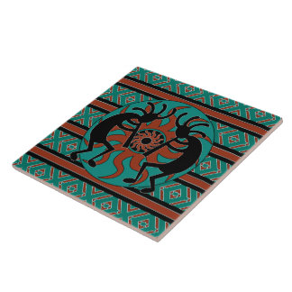 Turquoise Kokopelli Tribal Sun Southwest Large Square Tile