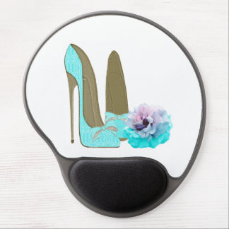 Turquoise Lace Stiletto Shoe and Rose Gel Mousepad