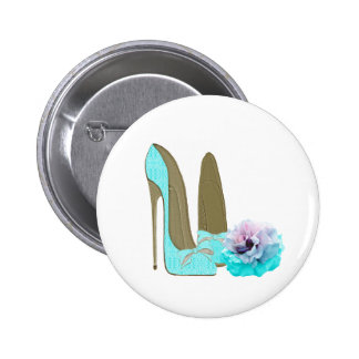 Turquoise Lace Stiletto Shoes and Rose Art Pin