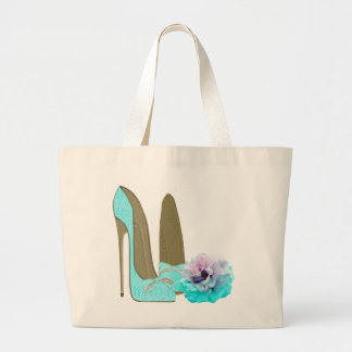 Turquoise Lace Stiletto Shoes and Rose Art Canvas Bag