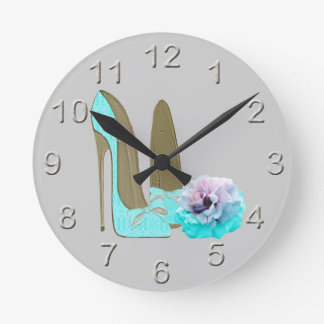 Turquoise Lace Stiletto Shoes and Rose Art Wallclocks