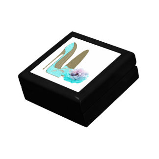 Turquoise Lace Stiletto Shoes and Rose Art Small Square Gift Box