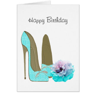 Turquoise Lace Stiletto Shoes and Rose Art Greeting Card
