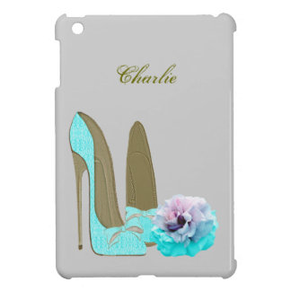 Turquoise Lace Stiletto Shoes and Rose Art iPad Mini Cases