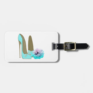 Turquoise Lace Stiletto Shoes and Rose Art Travel Bag Tags