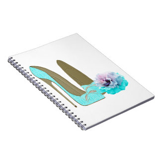 Turquoise Lace Stiletto Shoes and Rose Art Notebooks