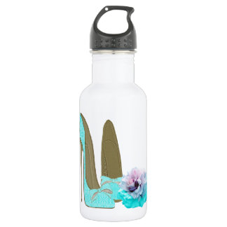 Turquoise Lace Stiletto Shoes and Rose Art 532 Ml Water Bottle