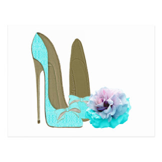 Turquoise Lace Stiletto Shoes and Rose Art Postcard