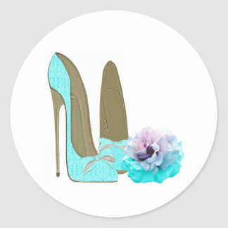 Turquoise Lace Stiletto Shoes and Rose Art Round Stickers