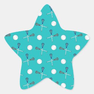 Turquoise lacrosse pattern star sticker