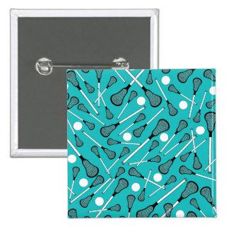 Turquoise lacrosse sticks pattern 15 cm square badge