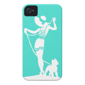 Turquoise Lady and Dog Silhouette iPhone 4s Case