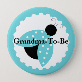 Turquoise Ladybug Grandma To Be Baby Shower Button